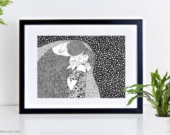 The Kiss, Gustav Klimt, Art Print, Home Decor, Klimt Painting, Classic Art, Wall Decor, Black and White, Zentangle Art, Polka Dots