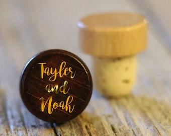 BEST PRICE ** Lot of Personalized Custom Wine Stopper, Laser Engraved Cork Bottle Topper, Reusable Rustic Wedding Favor --WS-dg-TaylorNoah