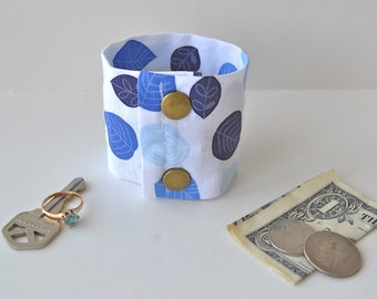 "Money Wrist  Cuff - ""Secret Stash""- Blue Leaves "" MEDIUM ONLY !! ( last one )hide your cash, key, jewels,  in a hidden inside zipper"