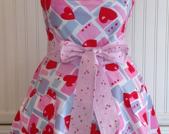 Valentines vintage style full Apron red pink blue hearts circle skirt ruched bodice heart pockets