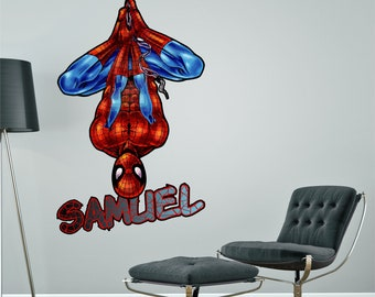 Spiderman Spider Man Personalised Wall Sticker Decal Superhero Marvel  Childrenu0027s Boyu0027s Bedroom Art Graphic Mural