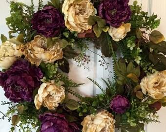 FRONT DOOR WREATH,Peony Wreath,Fall Wreath,Summer Wreath,Hydrangeas Wreath, Purple Wreath,Spring Wreath,Boxwood Wreath,Year Round Wreath