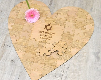Personalised Heart Shaped Jewish Girls Bat Mitzvah Guestbook Jigsaw Puzzle Piece