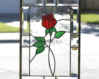 """Stained Glass Window Panel~""""RED ROSE""""~Contemporary Stain Glass Panel, Red Rose, Clear Bevels,  Romantic, Clear Bevels, Beveled,Ready to Ship"""