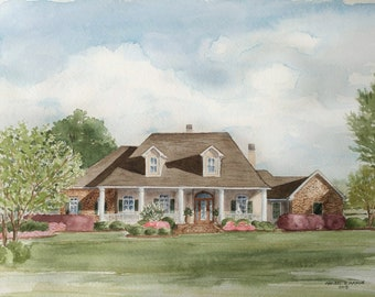 Custom watercolor of home, cottage, business, B and B, church painting, housewarming gift
