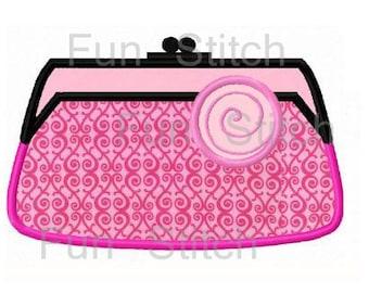 Fashion purse handbag applique machine embroidery design