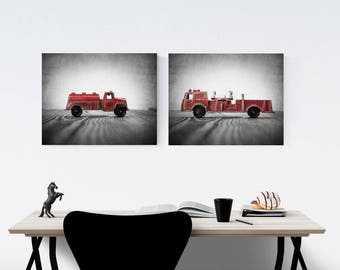 Vintage Fireman Watering Truck and Fire Engine on Wood Set of Two Stretched Canvas Prints, Boys Room decor, Boys Nursery Art