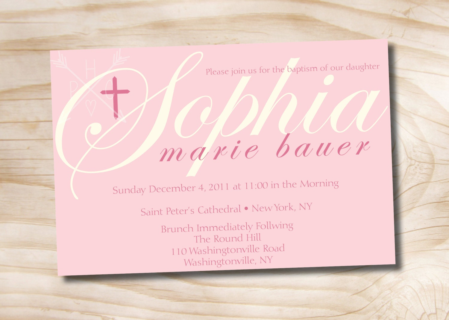 BAPTISMAL NAME Custom Baptism Invitation Christening