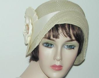 Cream Straw flapper Gatsby summer cloche with ivory trim Downton Abbey hat Miss Fisher cloche