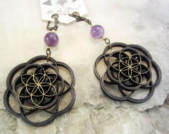 Flower of Life earrings, laser cut jewelry, amethyst, nature inspired jewelry, mandala earrings, sacred geometry, intricate jewelry