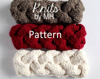 Cabled Knit Headband Pattern // Headband Knitting Pattern // Chunky Headband Pattern // Cable Headband Pattern