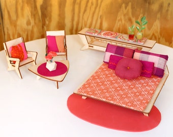 Deluxe Textile Set for 1:12 scale dollhouse - Cad Red Mod Collection