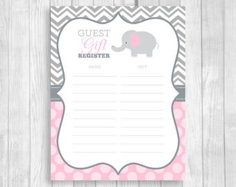 SALE Guest Gift Registry 8.5x11 Printable Elephant Baby Shower Mom-to-Be Gift Sheet in Gray Chevron Light Pink Polka Dots Instant Download