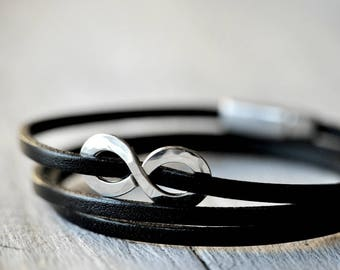 Sterling Silver infinity leather Bracelet with personalised stamping on the charm, Mens and Unisex, leather anniversary, third anniversary