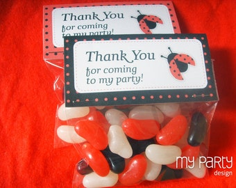Ladybug Party - Thank you Labels - Treat bag Labels - INSTANT DOWNLOAD - Printable PDF