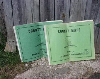 Michigan Maps, Michigan County, Map Folio from 1961, Historical Maps,Decorator Maps