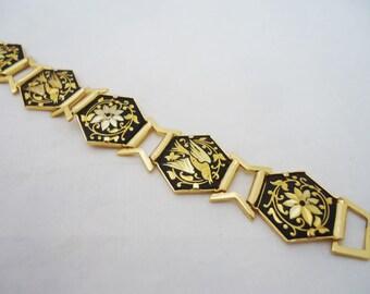 Damascene Bracelet, Damascene Link Braceket, Black and Gold Bracelet