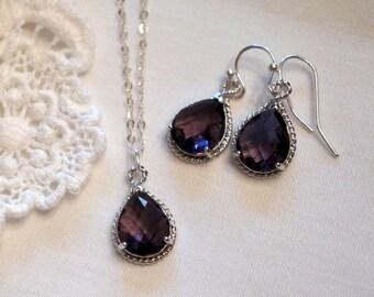 Purple Jewelry Set, 7 Sets, Bridesmaid Jewelry Set,  Aquamarine Blue, Sapphire Blue, Ruby Red, Crystal, Bridesmaid Gift