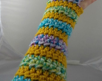 Yellow and Pastel Striped Crocheted Arm Warmers (size S-M) (SWG-AW-SJ14)