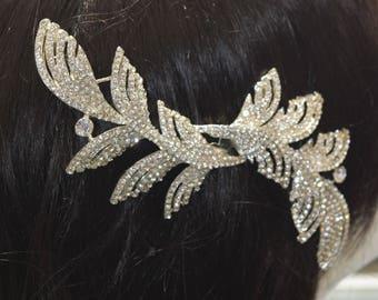 Crystal Hair Comb, Wedding Hair Comb, Bridal Hair Comb,  Pearl Hair Comb, Floral Hair Comb, Bridal Headpiece,Swarovski shine #30560