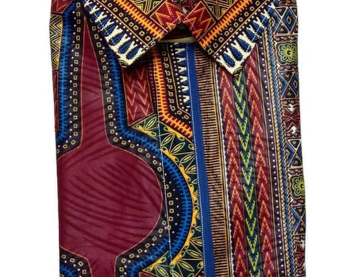46 Inch Chest Forest Green African Dashiki Shirt, Men's African Clothing, Ankara Fabric Clothing For Men
