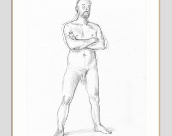 Pencil drawing ORIGINAL male nude - drawing of a man - graphite and pencil drawing - THURSDAY NUDES - figure studies by Catalina