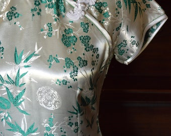 White and green cheongsam, qipao dress