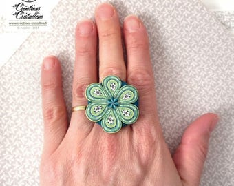 Flower ring, polymer clay matte - Adjustable ring