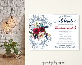 Lace Bridal Shower Invitation, Brides Lunch, Wedding Invitation, Celebrate the Bride, Vow Renewal, Dusty Blue, Cranberry, Merlot, Printable