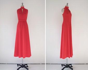 Vera dress • vintage 1970s double knit maxi • 70s red  mock neck dress