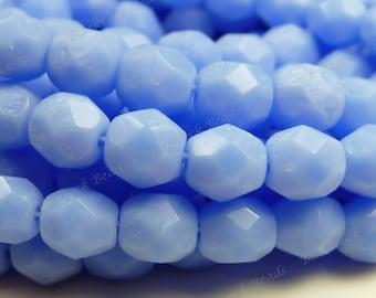 6mm Opal Dark Sapphire Czech Glass Beads - 25pcs - Round, Faceted, Fire Polished, Blue - BD14