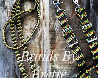 Barrel Reins, custom braided horse tack, 8 ft adjustable, rainbow and black