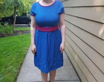 Blue and Fuschia 70's Linen Dress