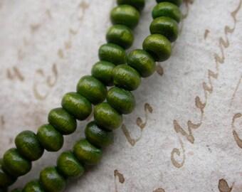 set of 30 5mmenviron 3 green wooden beads