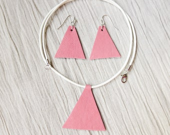 Pink Geometric Leather Set, Pendant Leather Necklace, Leather Earrings