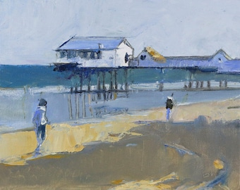 "Beach Decor  ""Pier"" Original Oil Painting by Bo Kravchenko for SEASTYLE FREE SHIPPING"
