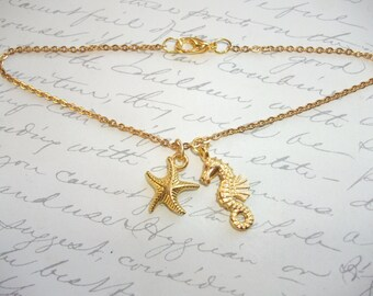 Gold starfish and seahorse anklet/bracelet/necklace