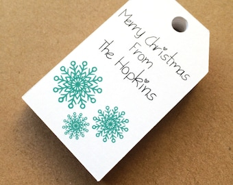 Custom printed gift tags holiday tags christmas tags snowflake tags merry christmas happy holiday tags favor tags set of 25