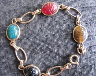 Vintage Egyptian Revival Scarab Gold Filled Bracelet