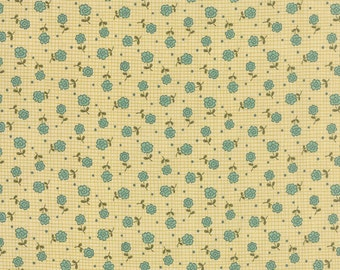 Moda Fabric PRINTS CHARMING Sandy Gervais Cream Teal Floral Small Grid 17843-11
