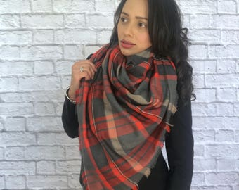 Blanket scarf /Wool scarf /Cotton scarf /Plaid blanket scarf /Fall scarf /Winter scarf  /Soft warn scarf /Plaid scarf /Women's scarves