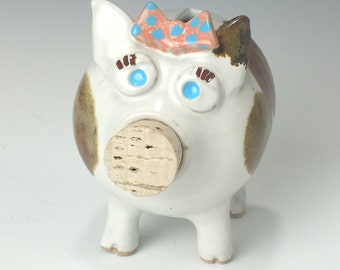 Handmade OOAK Art Piggy Bank with Bow