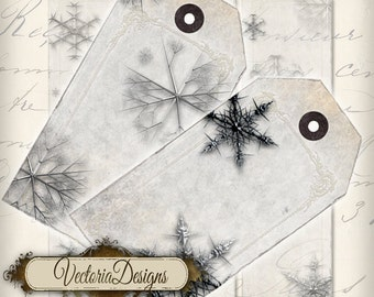 Snowflake tags instant download printable gift tags digital Collage Sheet VD0214