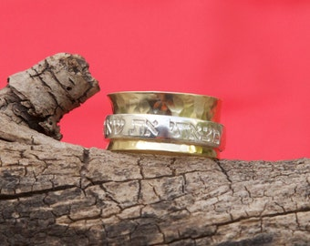 9kt Gold Ring with Sterling Silver Scripture Spinner Ring 11mm wide