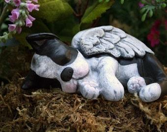 Boston Terrier Angel Statue Dog Angel Concrete Memorial