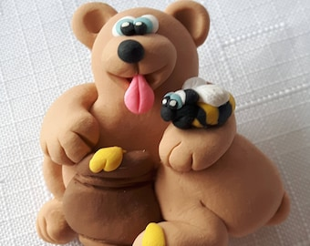 Teddy Bear with Honey Pot and Bee Pal Brooch, By: Pook Designz, Honey Pot, Bear with Honey, Bee and Honey, Teddy Bear Brooch