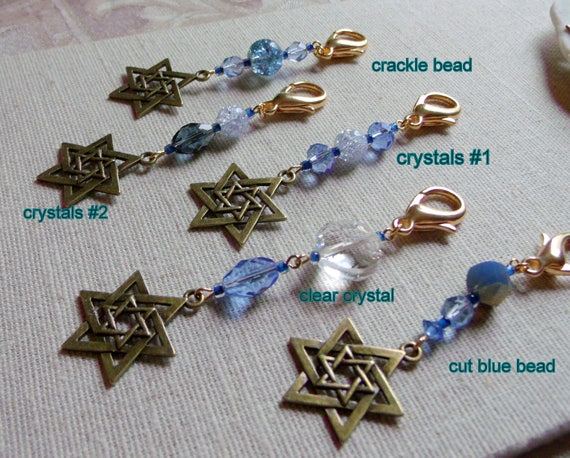Bar and bat mitzvah party favors - zipper pull - Judaic memento - blue zipper pull - journal charm - bronze Star of David - party gift