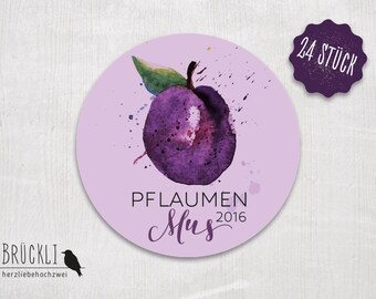 24 stickers / labels / stickers for plum jam
