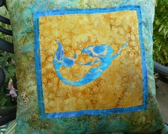 Mermaid Pillow Blue and Gold