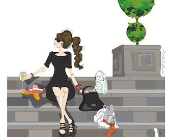 Fashion Illustration, Parisian, Girl and French Bulldog, Wine and Laduree, Lunch by the Lake Art Print